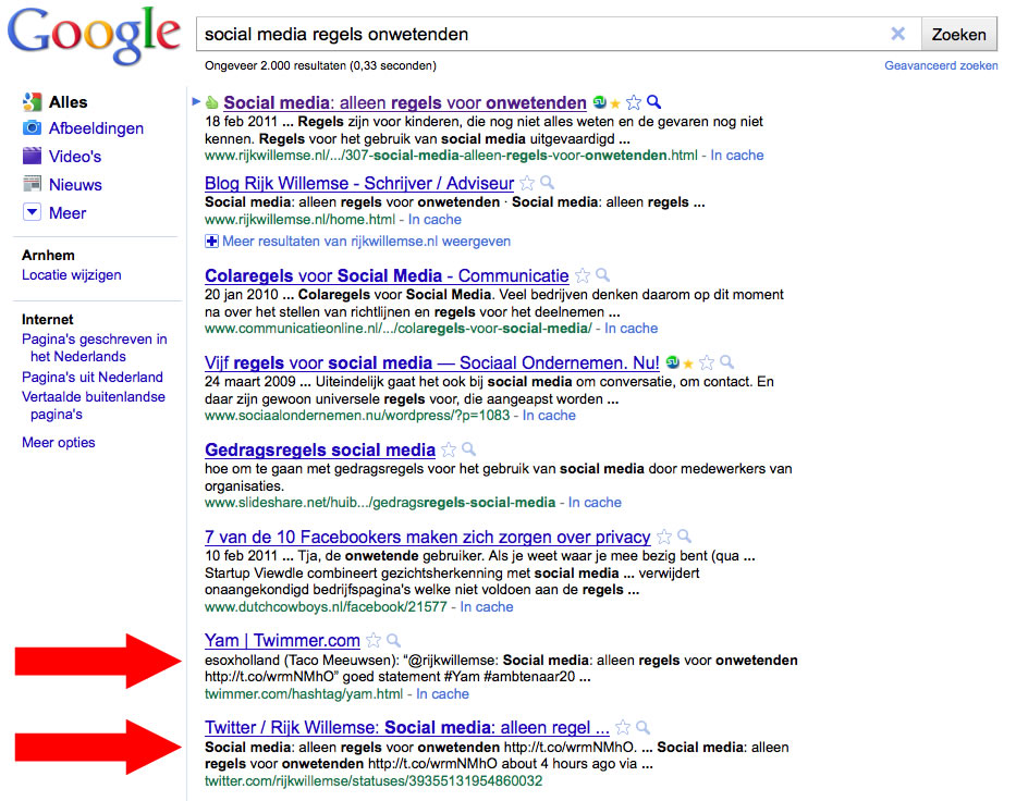 Hoog in Google met links via social media